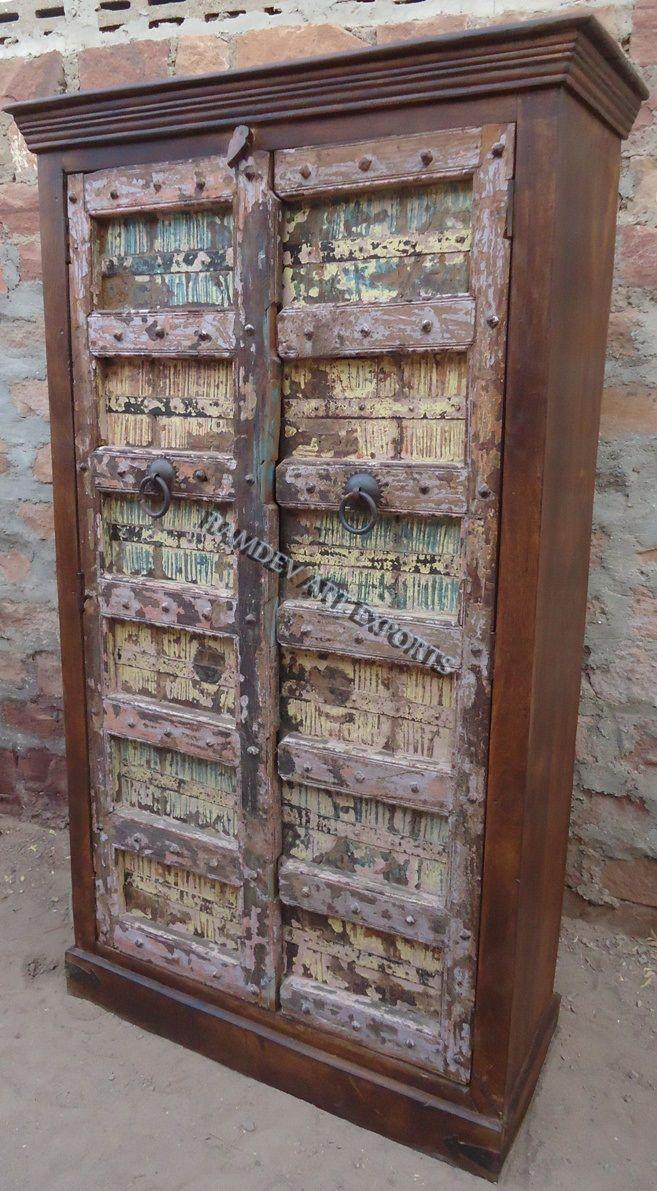 Indian Wooden Old Door Armoire