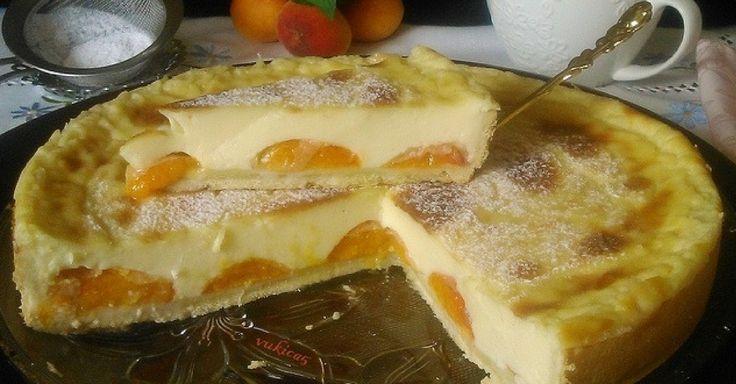 Jednoduchý meruňkový koláč s pudinkovým krémem