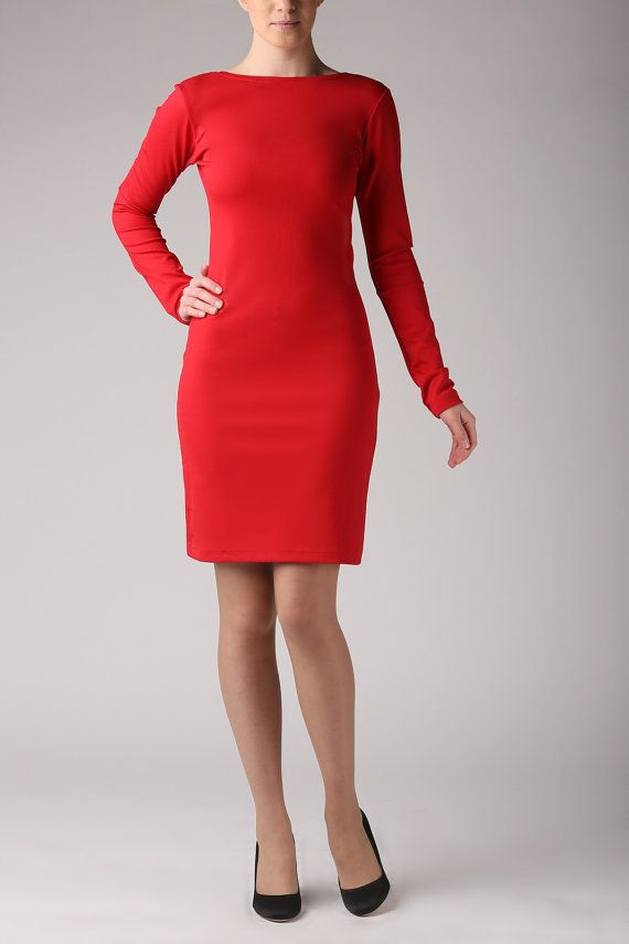 Red dress simple red dress jersey dress made to by Fanfaronada
