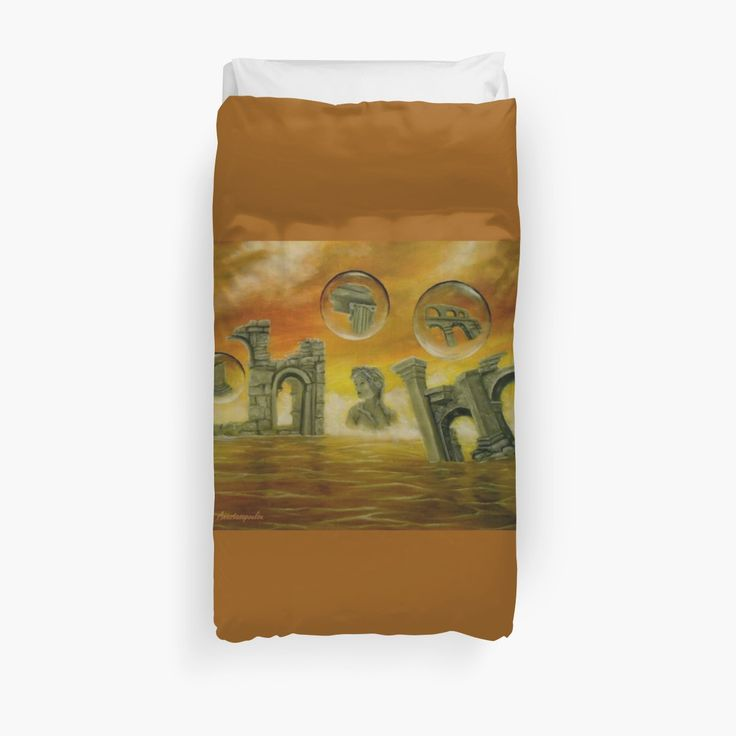 Duvet Cover, bed decor, for sale, home,accessories,bedroom,decor,cool,unique,fancy,artistic,trendy,unusual,awesome,beautiful,modern,fashionable,design,items,products,ideas,orange,golden,colorful,ancient,ruins,temples,sky,sea,fantasy,redbubble