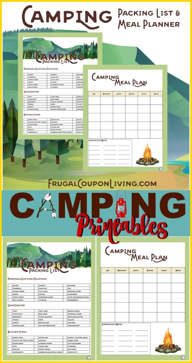 CAMPING IDEAS Previous Pinner WritesCamping Printables Packing List And Meal Planner For Camping Needs FREE Printable