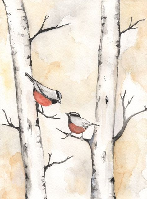 Birch Tree Birdies / Love / Romance / watercolor by kellybermudez, $19.00