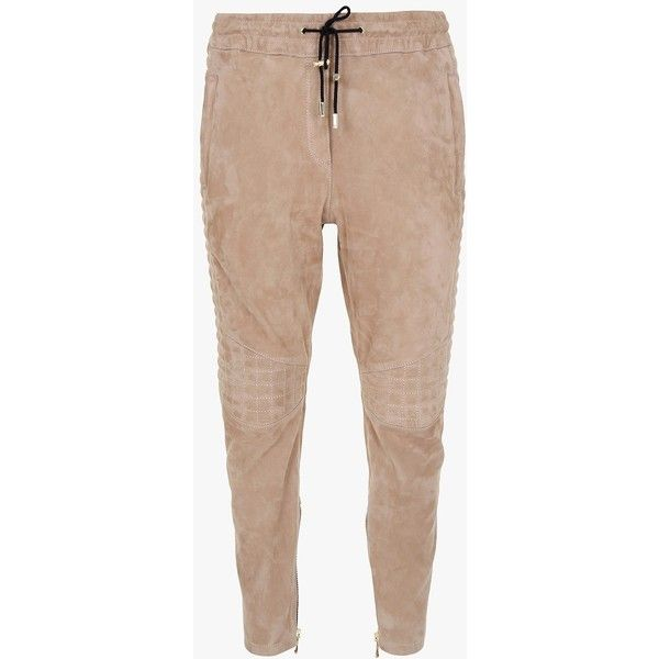 Stretch suede tapered pants | Women's pants | Balmain ($3,260) ❤ liked on Polyvore featuring pants, stretch trousers, balmain, balmain pants, suede leather pants and beige pants