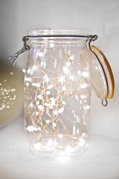 Fairy lights in mason jar.