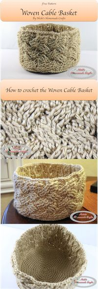 FREE PATTERN: Woven Cable Basket – Nicki's Homemade Crafts