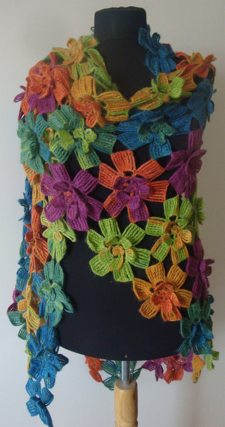 Multi colored long shawl/capelet/warmer/stole/scarf. Perfect for christmas gift. $98.00, via Etsy.