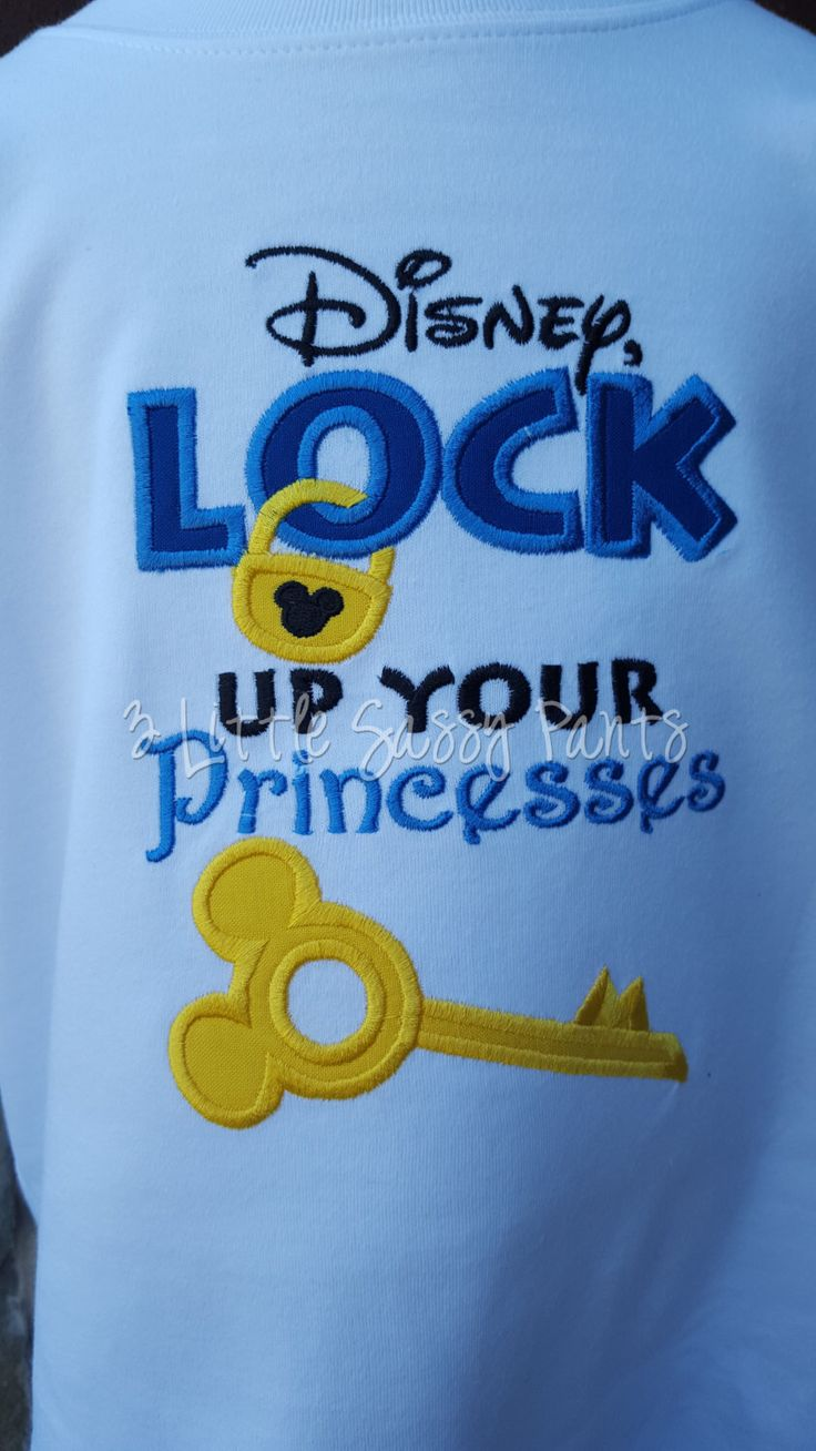 Disney Lock Up Your Princesses Embroidered Shirt- Mickey Shirt- Applique- Custom Disney Shirt- Vacation- Princess- Brother Shirt by 3LittleSassyPants on Etsy https://www.etsy.com/listing/253672240/disney-lock-up-your-princesses