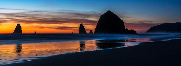 Haystack Rock Photograph - Cannon Beach Dusk Beach Serenity Panorama by Mike Reid
