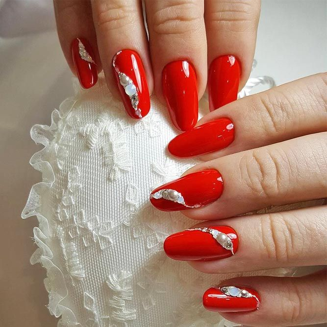 The 25 best red nail art ideas on pinterest pedicure designs 30 chic red nail designs to say im hot prinsesfo Images
