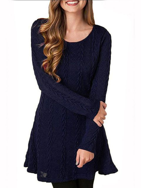 60d6026fcf Plus Size Women Sheath Daily Acrylic Long Sleeve Cable Solid Dress –  lalasgal