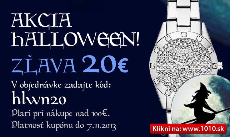 Akcia - 20 Eur z Vášho nákupu platí do 7.11. Uplatniť si môžete na všetky hodinky a šperky pri nákupe nad 100 Eur. www.1010.sk