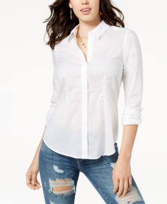 GUESS Perry Cotton Poplin Button-Up Top