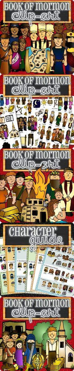 Over 100 pieces of clipart and graphics for teaching, playing and telling stories from the entire Book of Mormon. Great for puppets, laminating, flannel board characters, etc. Each graphic is labeled and also comes with a character guide to let you know which pieces go with which stories. Clipart comes from Book of Mormon Stories {for Toddlers and Children} https://www.etsy.com/listing/121960784/sets-1-2-3-book-of-mormon-stories-for?ref=related-0