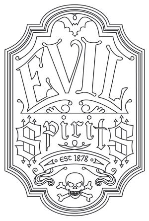 Evil Spirits Apothecary Label | Urban Threads: Unique and Awesome Embroidery Designs
