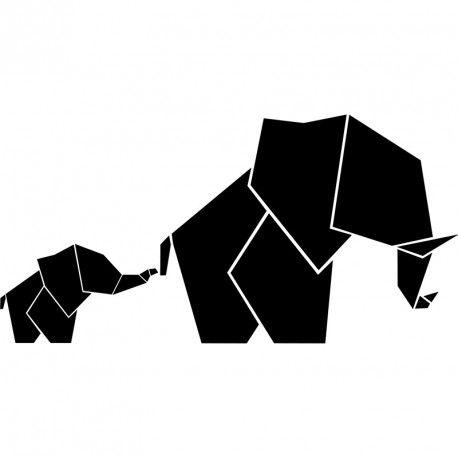 Sticker bébé et maman éléphant en origami