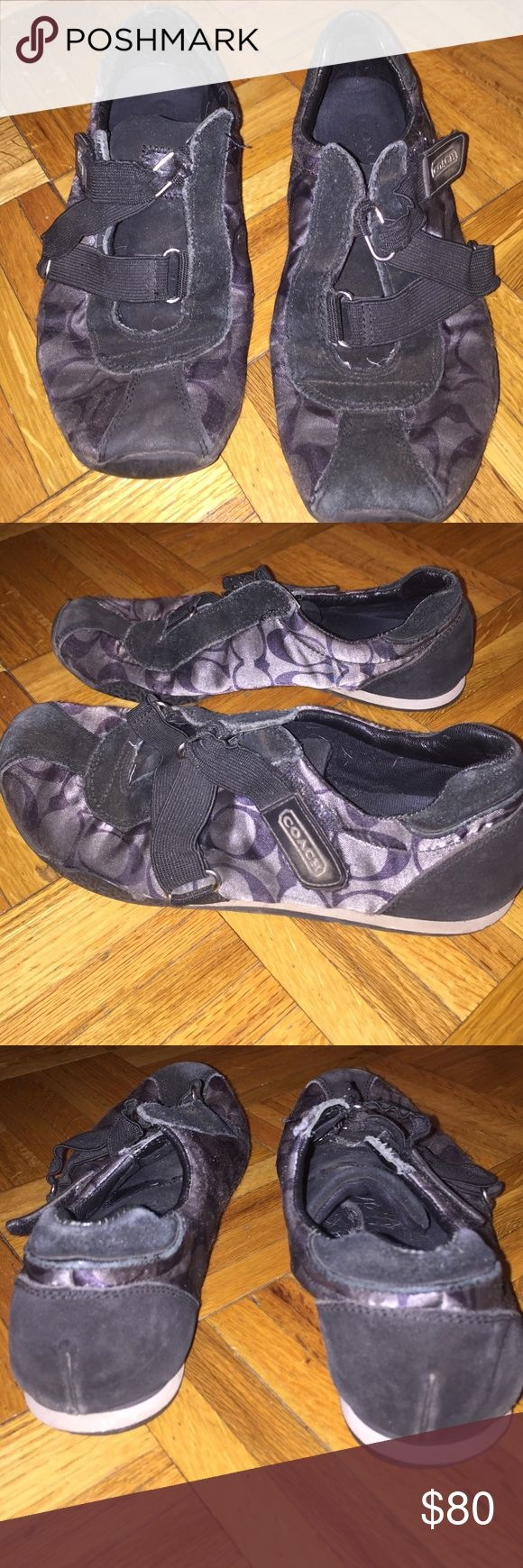 Authentic coach velcro sneakers Authentic used velcro black, grey and white sneakers. A little wear and tear, very comfortable sneakers 👟 Coach Shoes Sneakers