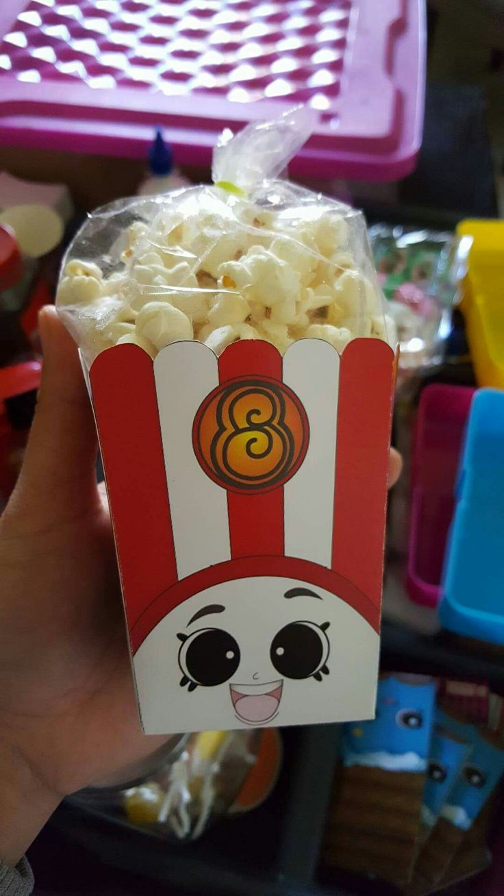 Etsy download (so worth it! Saves so much time!) And printed on hard card paper. Fresh popcorn added to plastic bags and tied with loom band. Poppy Popcorn