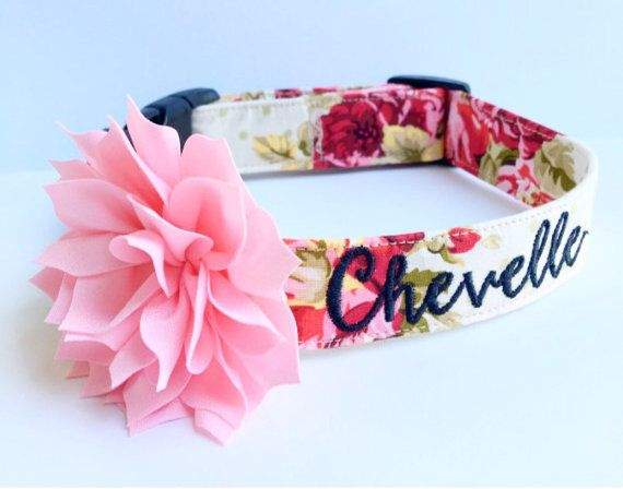 This shabby chic pink, red, cream, and sage polka dot dog collar comes in 5/8 or 1 inch width and is adjustable. The font pictured is Chloe. Thread color: black. I recommend the Boucherie font since it is thicker and available for the 5/8 and 1 width collars. THE FLOWER MUST BE PURCHASED. *if you want a 4 flower please purchase it separately. It is made with quality nylon (lightweight for XS-medium and heavyweight for L-XXL), cotton with an interfacing for durability, a welded D rin...