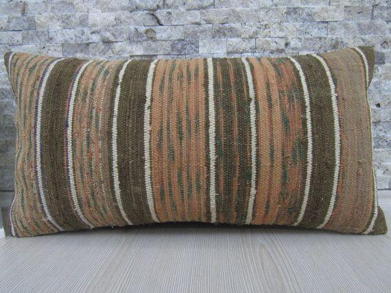Faded Color Turkish Pillow Vintage Kilim Pillow 12 x 24 Bohemian Pillow Turkish Cushion Asian Pillow Decorative Pillow Home Decor Pillow