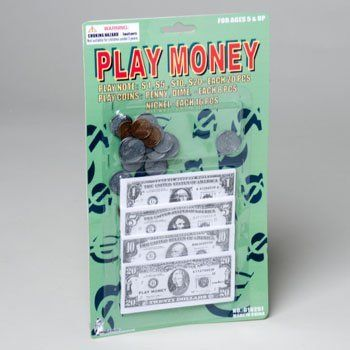 Play Money Set W/bills & Coins by Good Old Values. $4.49. Play Money Set. Has bills & coins in this wholesale bulk cheap discount set of play money toys.