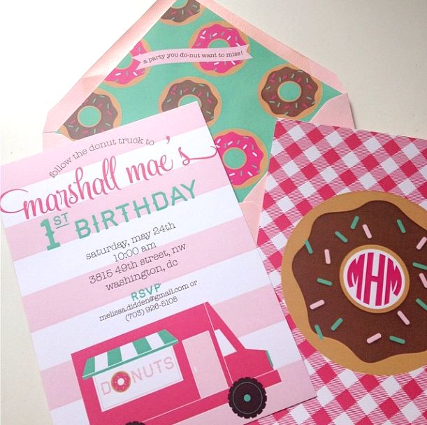 #Donut themed first #birthday #party invitation. SO cute and preppy I Custom by Nico and Lala