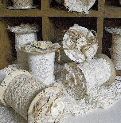Lace storage spools made from TP rolls. No instructions. From Viola @ Shabby Chic Inspired