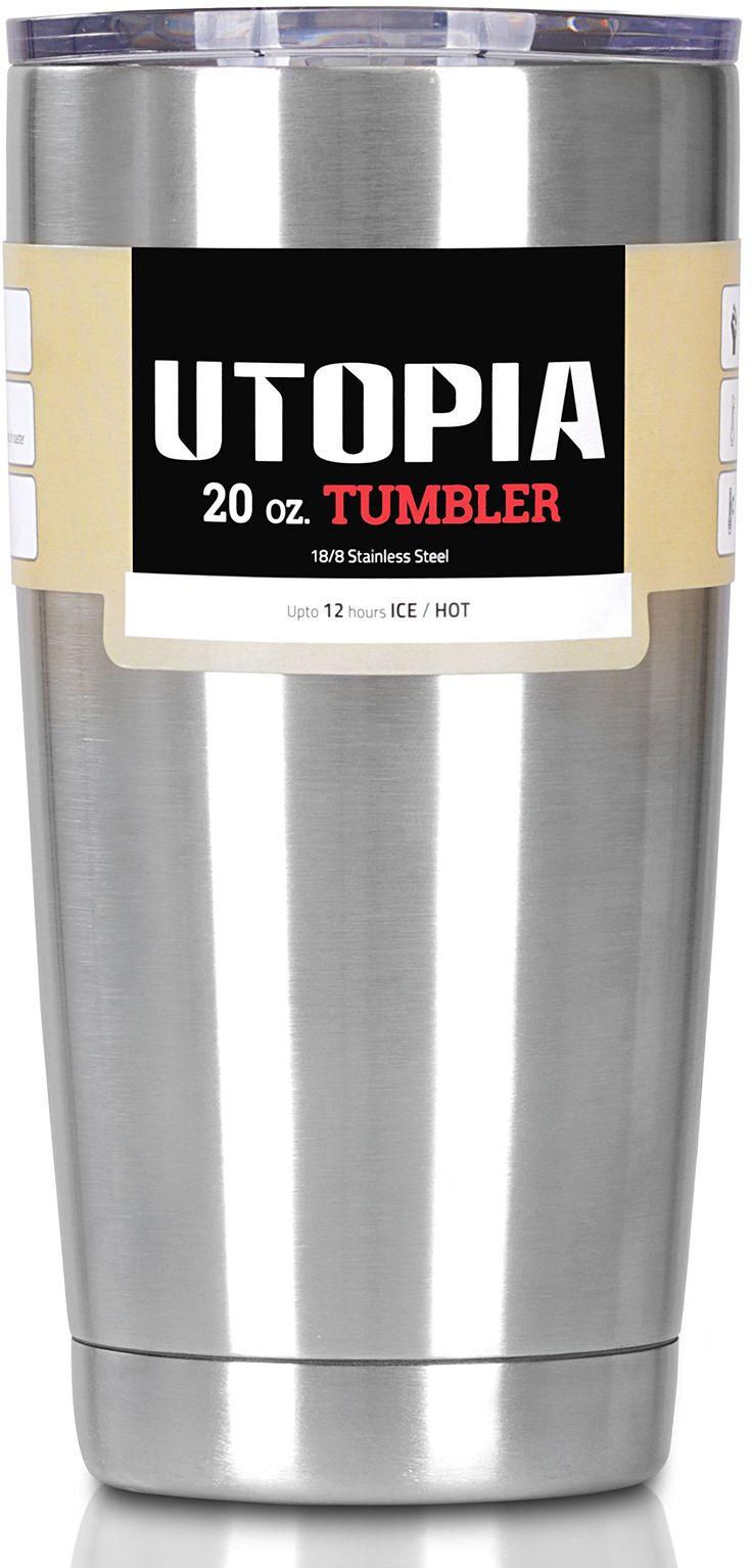 Utopia Tumbler - Stainless Steel Double Wall Insulated Large Coffee Mug / Travel Mug for Hot and Cold Drink (20 Oz, Stainless Steel)