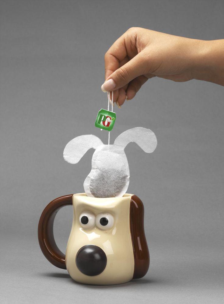 Gromit shaped tea bag for PG Tips!