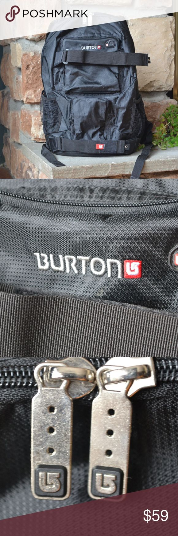 "BURTON Skateboard or Snowboard Backpack UNISEX Men's or Women's Backpack.  EUC. Used only twice for a short snowboarding trip.  Tons of zippered pockets for storage.  Chest strap and laptop pocket (fits up to 12"" laptop or Macbook).  Outside Velcro straps hold your board easily.  18"" x 11"" x 7.5""  Offers welcome! Burton Bags Backpacks"
