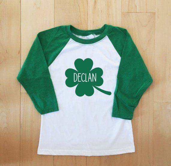 Personalized St Patricks Day Shirt For Girls Green Glitter Shamrock Shirts Girls Personalized St Patricks Day Shirts Kids