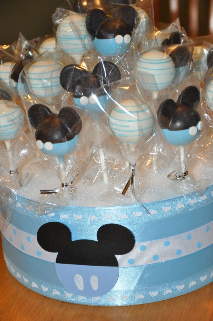 Mickey Cake Pops! Perfectly blue for a boy's Disney baby shower!