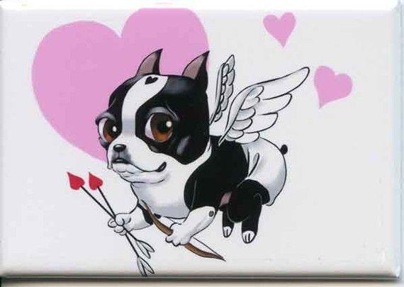 Boston terrier Chérubin chien art amour aimant