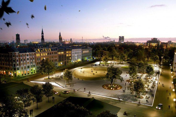 Israel's Square, COBE Копенгаген, Дания Чем интересен: взаимопроникновение площади и парка