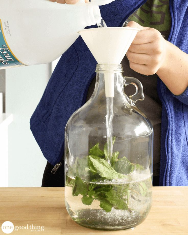 Scented Vinegar Laundry Rinse You'll need: 1 gallon white vinegar A big handful of fresh mint leaves A large bottle or container with a lid Strainer or sieve to Use pour 1/4 cup in your fabric softener dispencer