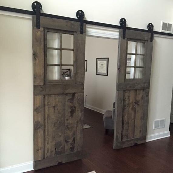 Vintage Custom Sliding Barn Door With Windows Price Is For Etsy Barn Door Window Doors Interior French Doors Interior