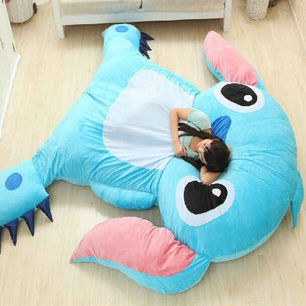 Large Size Cartoon Anime Lilo And Stitch Plush Toys Dolls Giant Stuffed Animals TV Movie Character Child Kids Soft Big Beanbag>>OMG I WANT THIS | cute, kawaii, sleeping bag