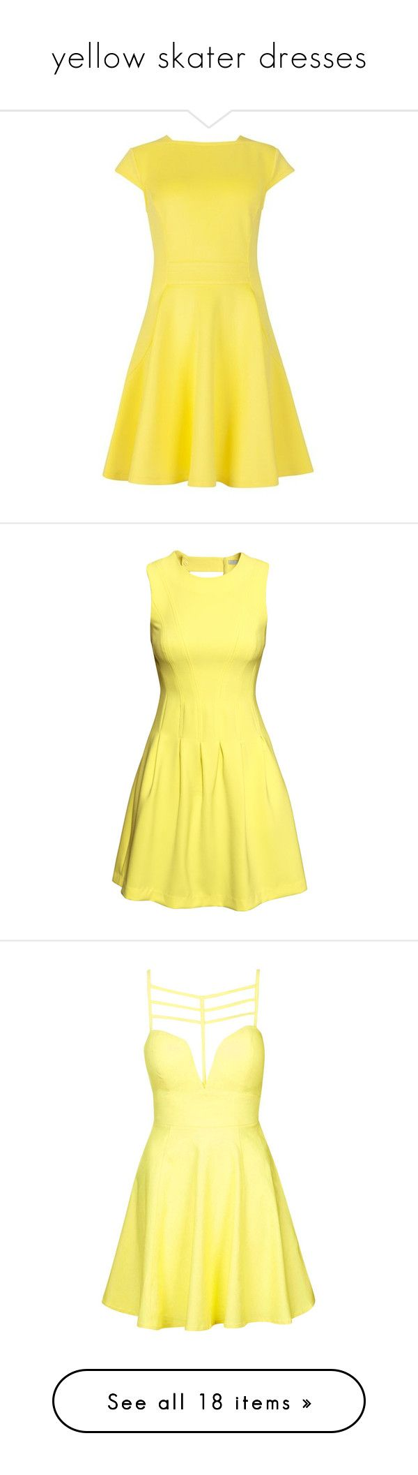 """yellow skater dresses"" by lulucosby ❤ liked on Polyvore featuring dresses, yellow maxi dress, bohemian dresses, bohemian maxi dress, bohemian summer dresses, yellow dress, yellow, short dresses, h&m and vestidos"