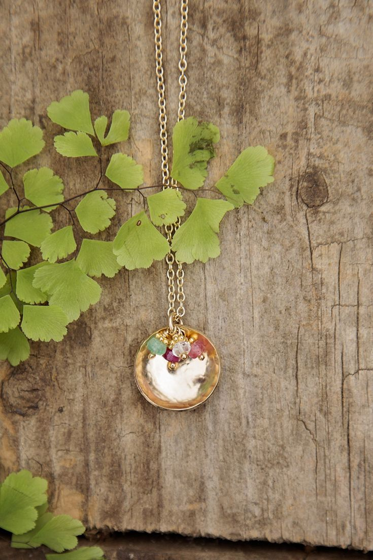 Holds up to SIX birthstones!  The Hammered Dome Charm Necklace is the perfect gift for the mom or grandma with a large family.
