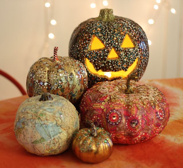 Gussied up pumpkins - Aunt Peaches