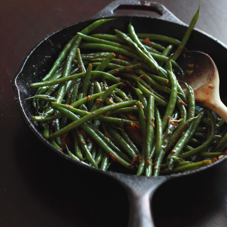 Quick Skillet Garlic Green Beans Recipe Side Dishes with haricots verts, clove, chili flakes, extra light olive oil, salt