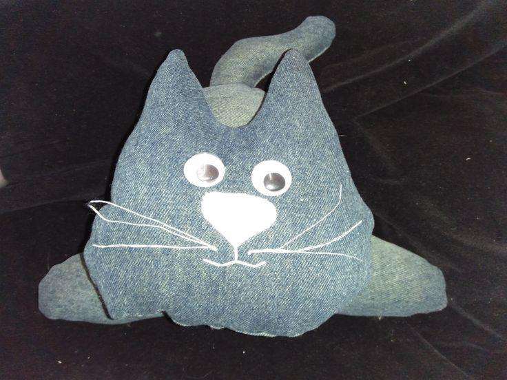 Recycled repurposed denim cat doorstop $20