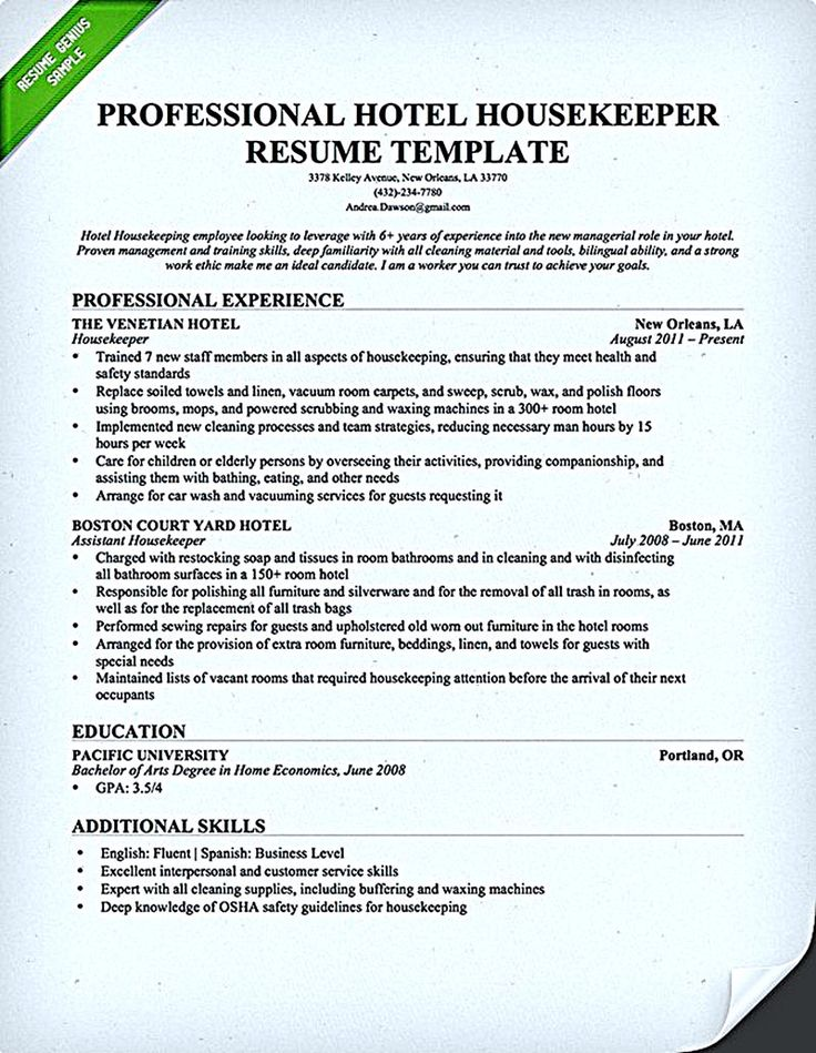 26 best Resume Genius Resume Samples images on Pinterest Sample - hotel resume example