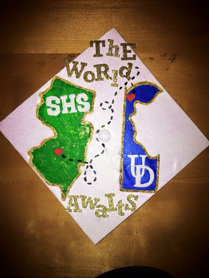 New Jersey to university of Delaware grad cap fine by some creative artists! I love it