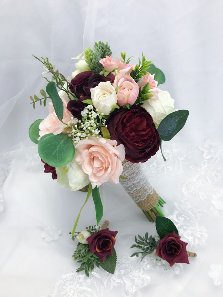 Excited to share the latest addition to my #etsy shop: Wedding Bouquets bridesmaids bouquets winter wedding Bouquet Burgundy Bouquet Boho Bouquet Bridal Bouquet、peonies, eucalyptus,blush bouquet