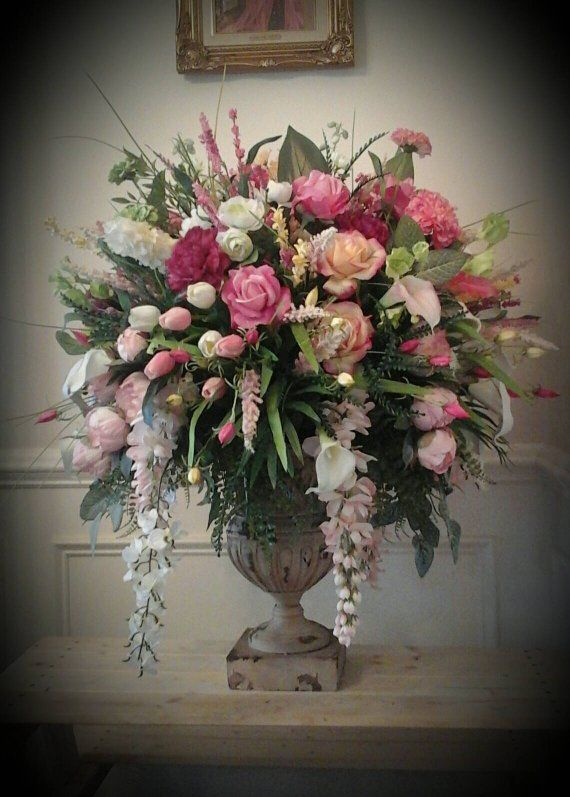 Floral Arrangement Tall Pastel Luxury Floral Centerpiece Shipping Included Elegant Designer Foyer Dining Arrangement Wedding Party Church Flower Arrangements Flower Bouquet Vase Large Flower Arrangements