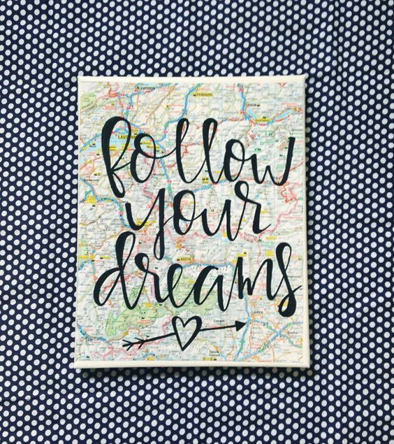 Canvas quote Follow your dreams 8x10 hand painted by kismetcanvas: