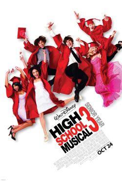 The six main cast members do their signature jump, this time in prom outfits and graduation gowns