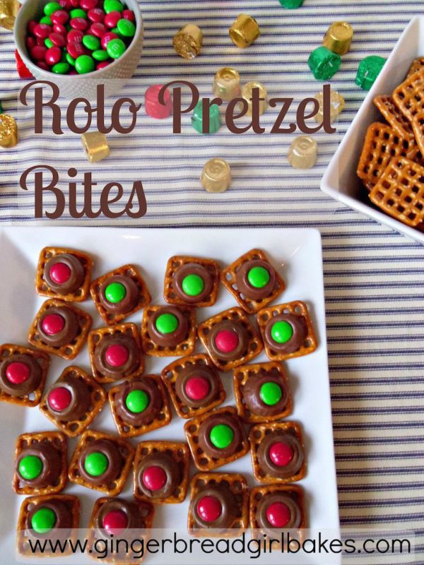 Rolo pretzel bites remind me of a Twix! They only take a few minutes to make, and you can change the colors for any holiday or occasion!