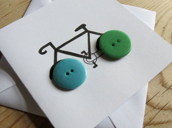 Handmade Bicycle Button Card by Tembocreations on Etsy