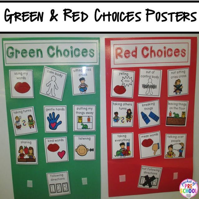 Green Choices & Red Choices poster to use a visual to support students making good choices. Pocket of Preschool